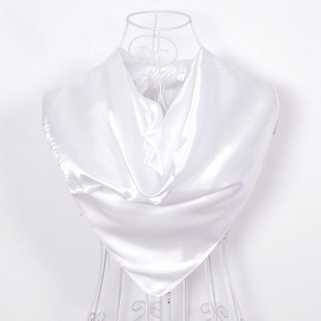 Biela Šatka Saténová 90x90cm White