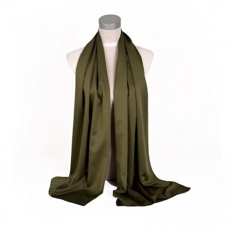 Zelená Šatka Saténová 180x65cm Army Green