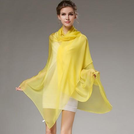 Žltá Hodvábna Šatka 200x140cm Yellow
